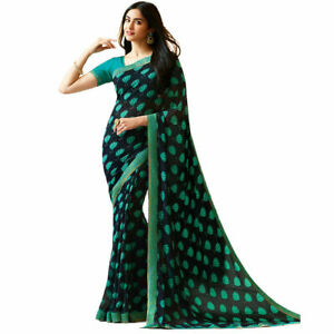 Saree Georgette Indian Designer Blouse Party Wear Bollywood Wedding Ethnic Sari