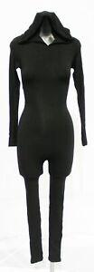 Naked Wardrobe Women's Long Sleeve Open-Back Hooded Jumpsuit AL8 Black XS NWT