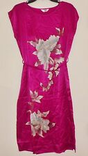 NEW but Vintage from China 100% Silk Sleeveless Tank Dress Sheath sz M Magenta