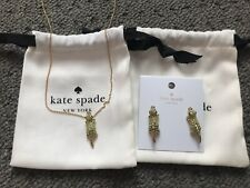 NWT KATE SPADE 12K Gold-Tone Swamped Pavé Alligator Stud Earrings and Necklace