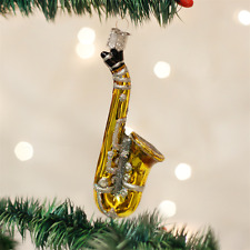 OLD WORLD CHRISTMAS SAXOPHONE GLASS MUSICAL INSTRUMENT CHRISTMAS ORNAMENT 38025