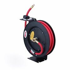 Steel Core Metal Retractable Air Hose Reel with 3/8in x 25ft Rubber Hose