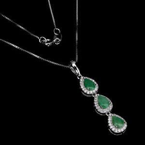 Unheated Pear Emerald 6x4mm Cz 14K White Gold Plate 925 Sterling Silver Necklace