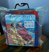 VTG NEW 1970s Scotty Plaid Preppy Red Blue Tartan Throw Blanket outdoor picnic