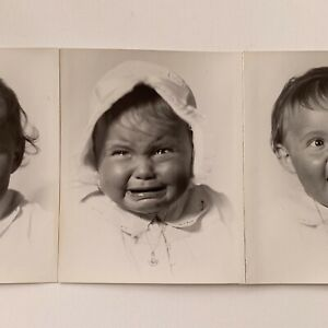 Vintage 6 Photographs Gelatin Silver Little Baby Funny Happy Crying HR Cremer