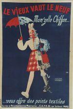 """""""MAM'ZELLE CHIFFON"""" Affiche originale entoilée 1940 Lucien BERTAUX 83x124cm"""