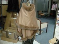 100% CASHMERE SWING CAPE COAT CAMEL BROWN FOX BORDER
