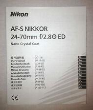 Nikon Nikkor AF-S 24-70mm f2.8G User's Manual