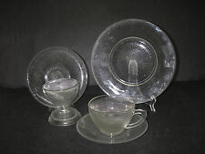 Canadian Depression Dominion Glass SAGUENAY Clear 20 pc Luncheon Set sherbet/cup