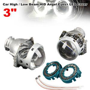 2Pcs 3 inch Car Dual-lens High / Low Beam Round Headlights Angel Eye Projector
