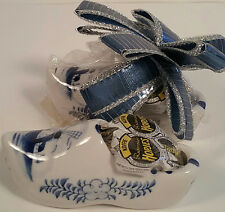 Dutch Shoes Pair Porcelain Hopjes Candy Containers Complete w/ Candy & Bow 70's