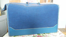 Vtg Valise suitcase luggage Hartmann Fabric & Leather Case zip close teal blue