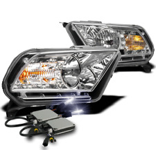 2010-2014 FORD MUSTANG CHROME SET CRYSTAL DRL LED HEAD LIGHTS LAMP W/10K HID KIT
