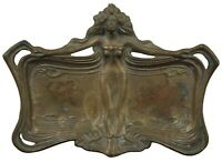 Francis Renaud French Bronze Art Nouveau Figural Tray Vanity Dish Nymph Maiden