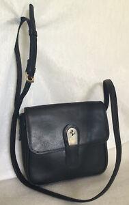 Vtge LANCEL Paris Black Leather Cross Body/Shoulder Bag / Handbag, Made In Italy