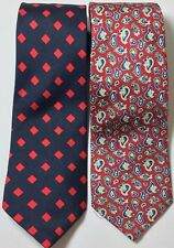 Lot of 2 Vintage Thomas Pink London 100% Silk Men's Necktie Tie Paisley blue red