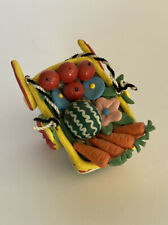 Vintage Mary Engelbreit 1990s Clay Fruit Vegetable Basket Ornament Very Detailed