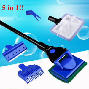 5 in 1 Aquarium Cleaning Tools Aquarium Tank Clean Set Fish Net Gravel Rake Alga
