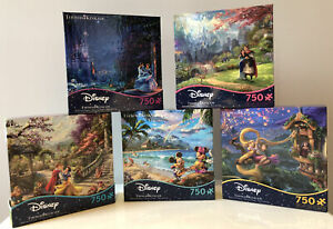 Thomas Kinkade Disney Jigsaw Puzzle(5) Mickey Aladdin Beauty And The Beast