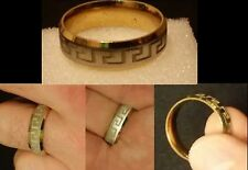 EXCLUSIVE GREAT WALL PATTERN YELLOW GOLD PLATED TITANIUM STEEL MENS RING SIZE 10