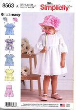 SIMPLICITY SEWING PATTERN 8563 TODDLERS/GIRLS SZ ½-4 DRESS, RUFFLE SLEEVE & HAT
