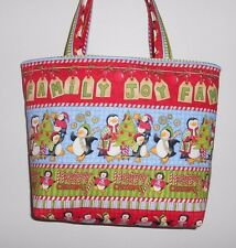 Handmade Christmas Penguins decorating Trees Tote Purse Bag