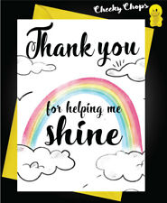 Thank you Card Teacher, Teaching Assistant, Nursery Teacher  Helping me Shine K5
