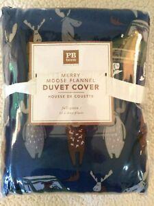 pottery barn teen Merry Moose Cotton Flannel Duvet Full Queen navy Kids
