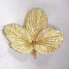 FLORA DANICA DESIGNER STERLING 925 GOLD DIPPED STRAWBERRY LEAF OOAK HTF Brooch