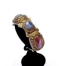 19C Chinese Sapphire Ruby Jade Jadeite Carved Bead Gilt Bronze Bangle Bracelet