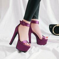 Women's Ankle Strap High Heels Platform Shoes Solid Color Buckle Sandals Pumps