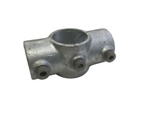 119 - Reduction Cross 40NB Tru x 32NB Tube Clamp Galv Malleable Pipe Fitting