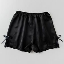Women Satin Knickers Shorts Panties Underpants Under Briefs Lace Bow Faux Silk