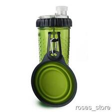 NEW Green Dual Chambered 16 oz Dog Water Bottle & Snack Treat Container By Dexas