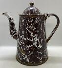 Vintage Brown & White Swirl Porcelain Agate Granite Ware Antique Coffee Pot