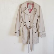 Weather Tamer Women's Trench Coat Tan Floral Lined Belted Buttons Size Lg L EUC