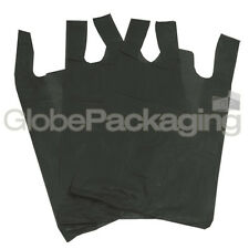 "100 x BLACK PLASTIC VEST CARRIER BAGS 11x17x21"" 16Mu *OFFER* - FAST DELIVERY"