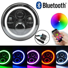"7"" CREE LED Headlight RGB Angel Eye Light Bluetooth App For Jeep Wrangler Hummer"