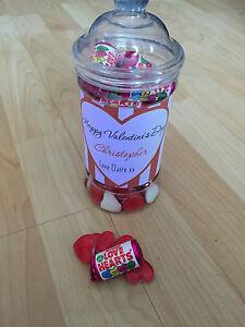 1 Personalised Valentine Retro/Vintage Sweet Jar gift him/her love hearts