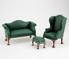 1:12 Scale Green Double Sofa&chair set Dollhouse Miniature Furniture Leather