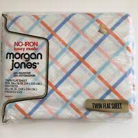 Vtg Springs Morgan Jones Twin Flat Sheet Pink Blue Orange Lines Squares Muslin