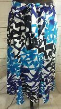 Marks and Spencer Womens Skirt UK 10 Blue Black White Patterned Flare Tie Waist