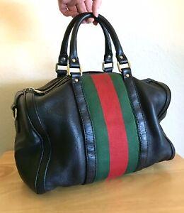 Gucci Large Black Leather Boston Web Stripe Handbag Red Green Tote Bag DIRTY