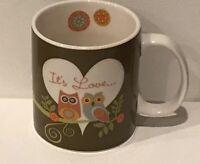 Valentina Owls In A Tree Its Love Coffee Mug Tea Cup 16oz Adorable Cute Owls EUC
