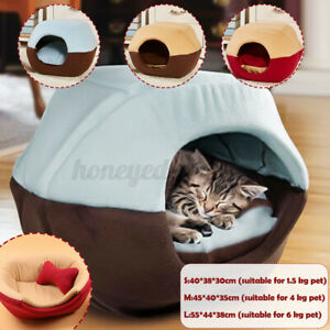 Cat Pet Dog Warm House Cave Igloo Beds for Indoor Cats Cozy Wool Nest Kennel M/