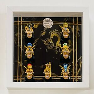 Display Case Frame for Lego Ninjago 10th Anniversary Golden Minifigures 25cm