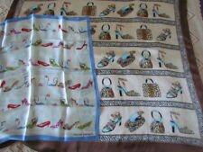 """New 20"""" Purse Silk Scarf  Blue Pink Shoes Harve Benard Abstract Vintage Lot"""
