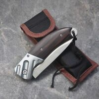 Folding Knife Blade Wood Handle 15cm Outdoor Survival Camping Mini Pocket Knife