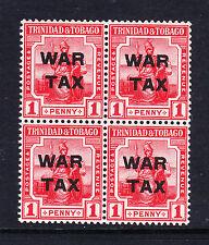 TRINIDAD & TOBAGO 1917 1d WAR TAX IN BLOCK OF FOUR SG 182 MNH.