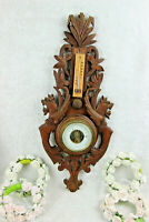 French wood carved black forest design dragons gothic barometer 1960